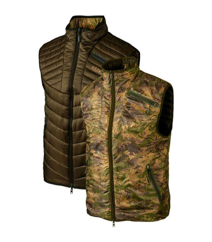 chaleco de caza reversible camuflaje verde