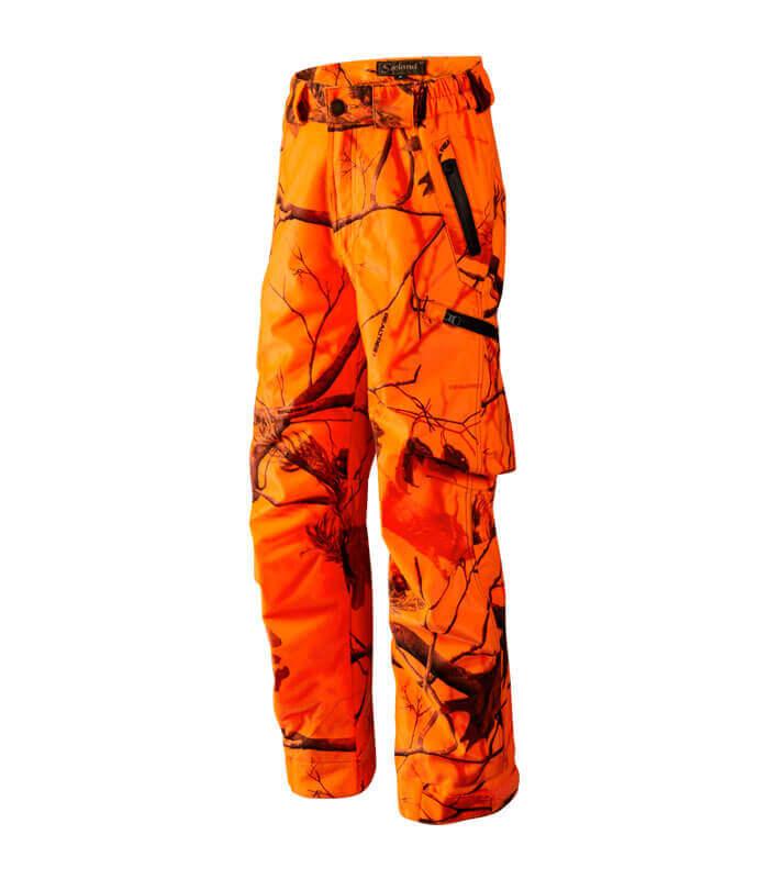 pantalones de caza niños naranja