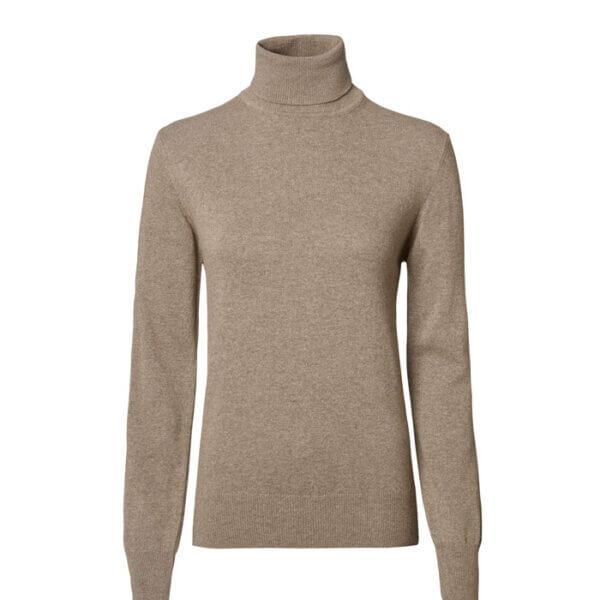 jersey de mujer de cuello alto color beige lana merino