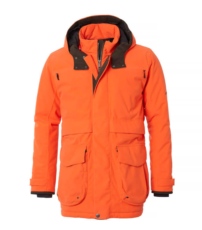 chaqueta de caza calinete y naranja de seguridad
