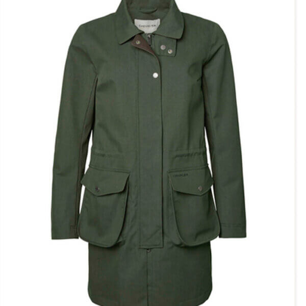 chaqueta larga impermeable de mujer
