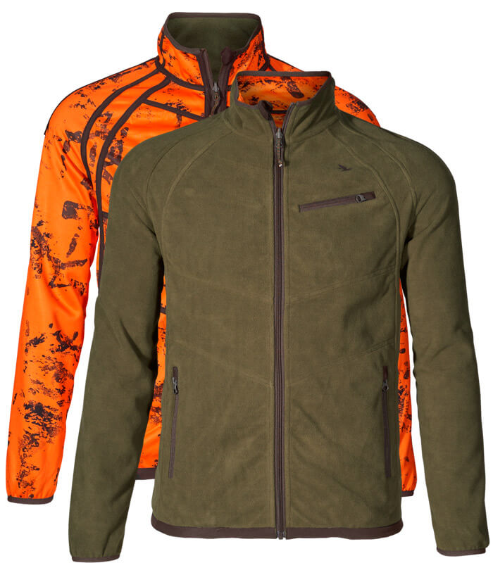 polar de caza seeland reversible cortaviento color verde y naranja de alta visibilidad